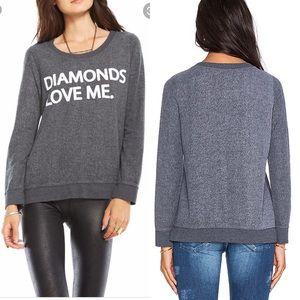 Chaser Brand Diamonds Love Me Sweatshirt Small
